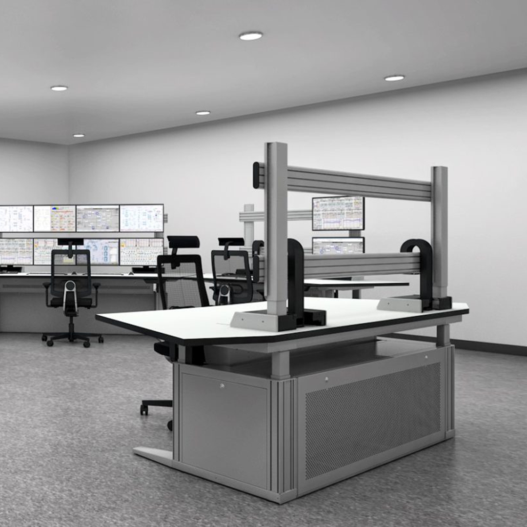 Control room with workstations