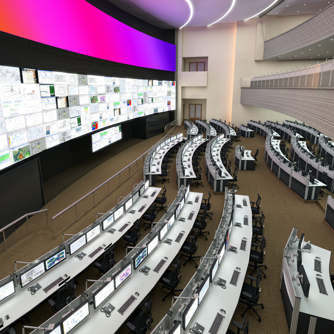 A large power and renewable energy control centre with video wall and large numbers of consoles and workstations