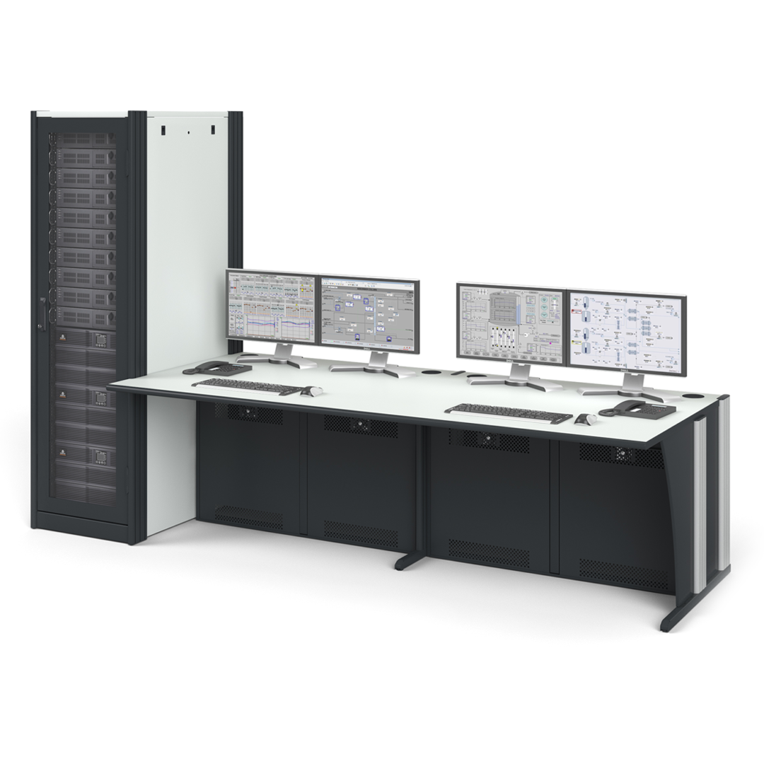 Ergocon workstation with multiple different sized monitors