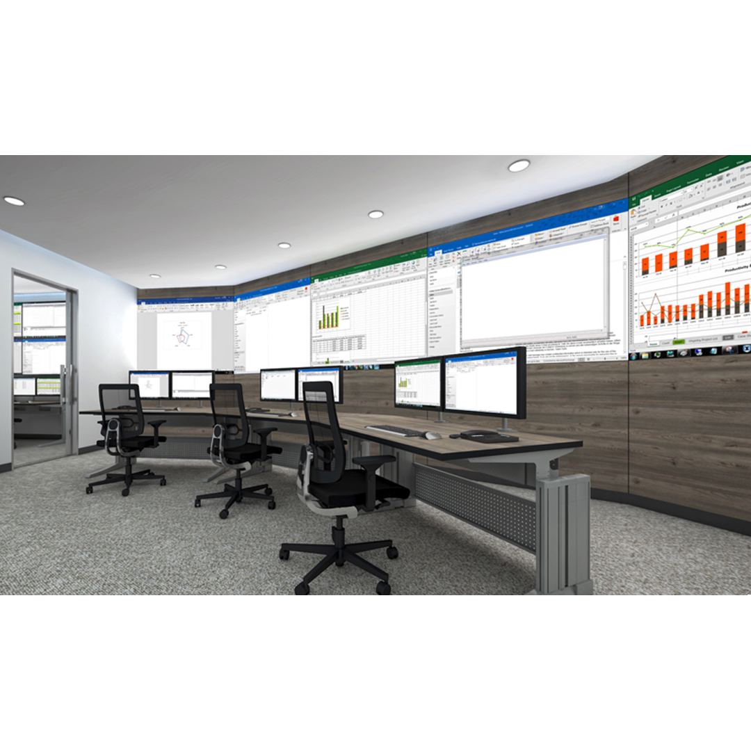 Control room equipped with Elicon workstations and video wall